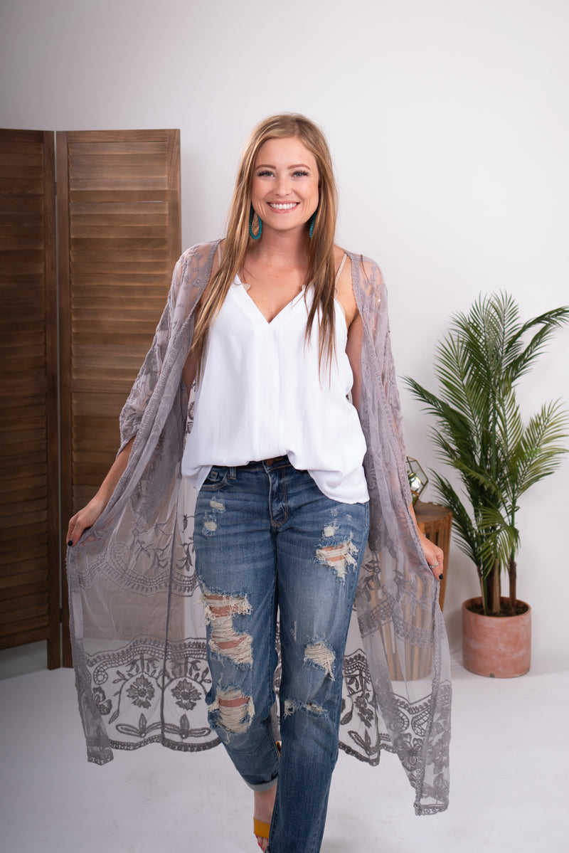 Grey Lace Duster