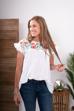 Fiesta White Embroidered Babydoll Top