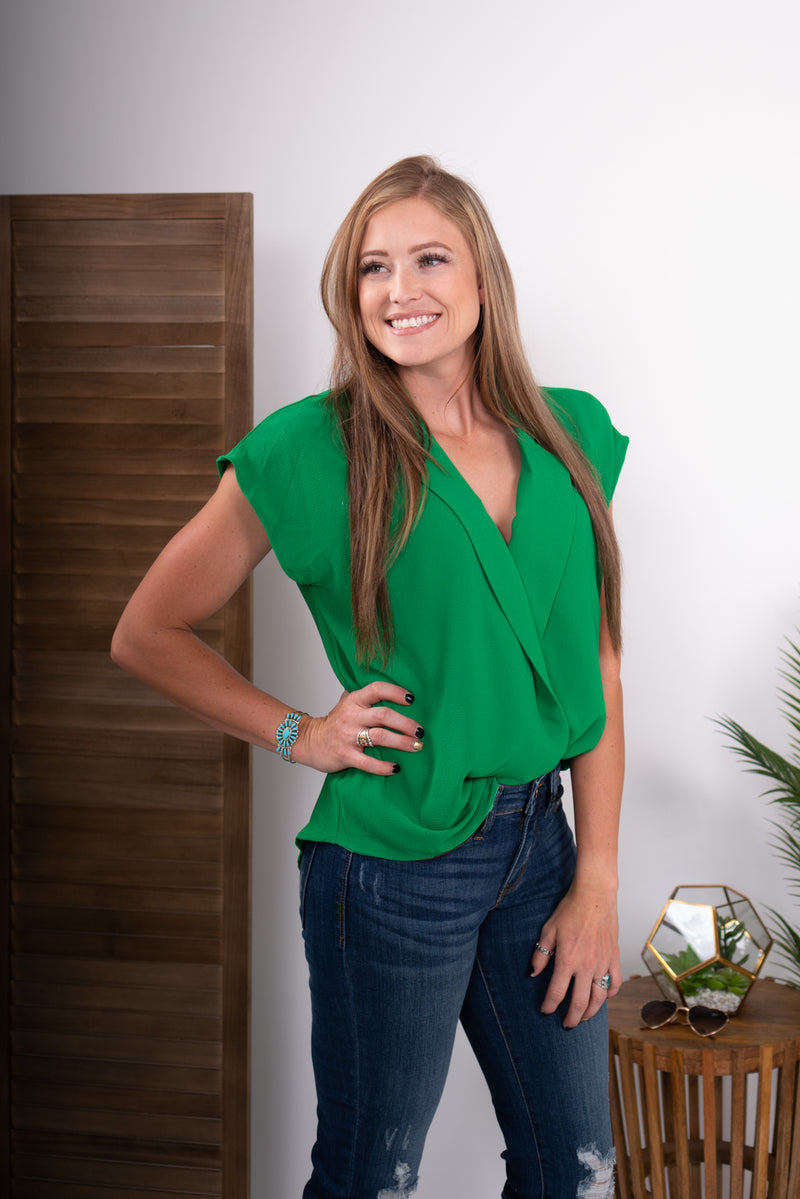 Kelly Green Collared Wrap Top