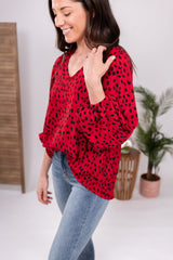 She Means Business Red Parachute Sleeve Top