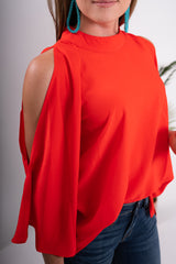 Candy Apple Red Empire Peep Sleeve Top