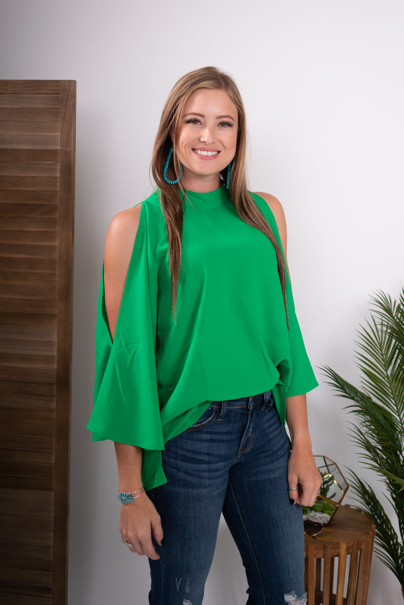 Kelly Green Empire Peep Sleeve Top