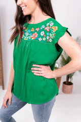 Kelly Green Embroidered Babydoll Top