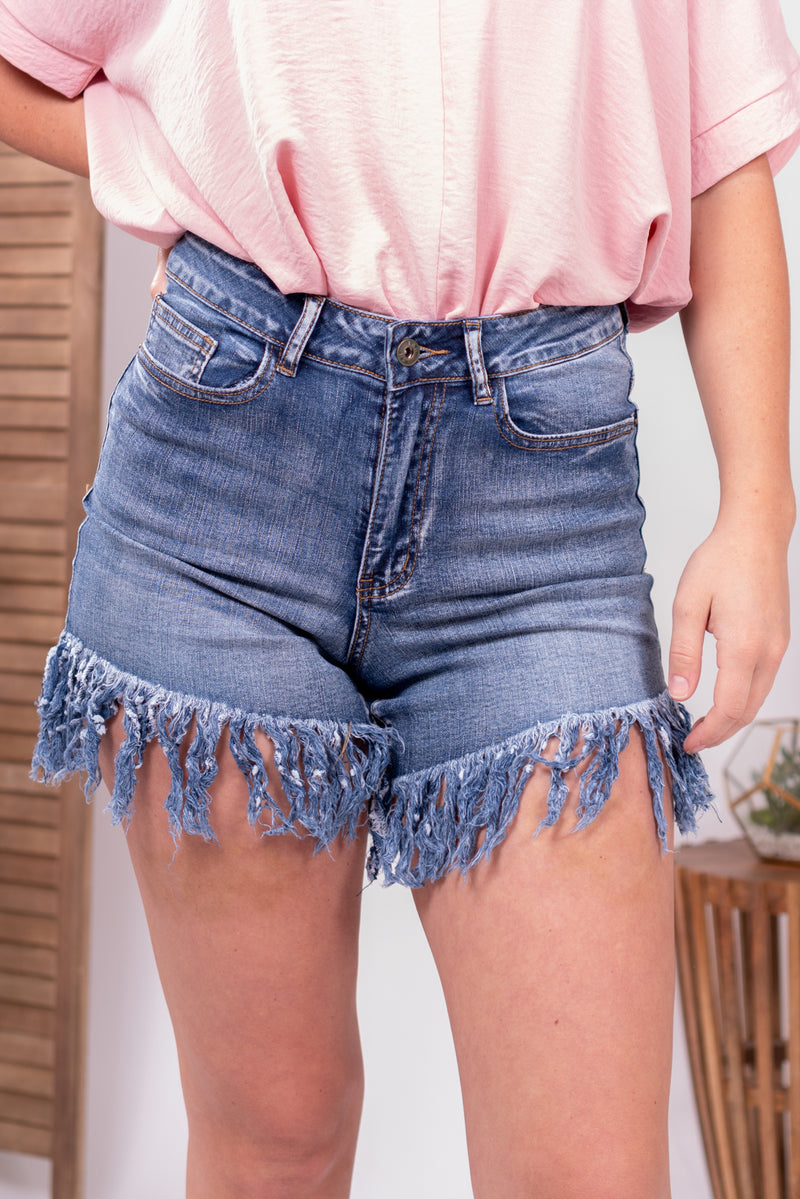 Fringe Bottom Denim Shorts