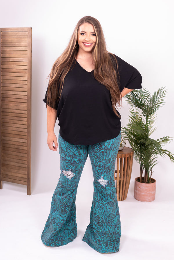 Turquoise Python Flare Jeans