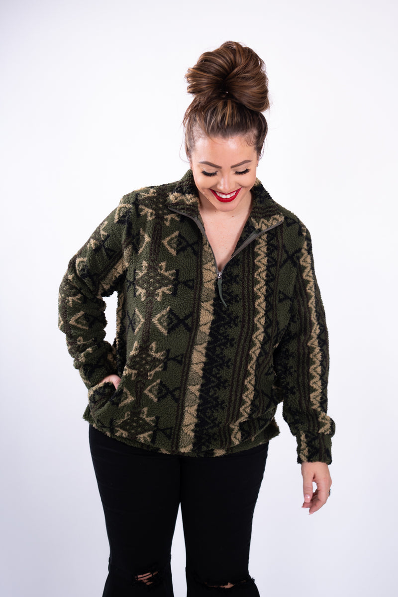 Olive Aztec Sherpa Pullover