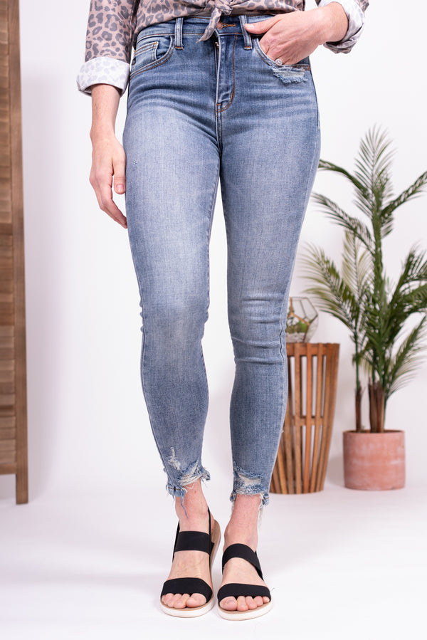 High Waisted Distressed Hem Judy Blue Jeans