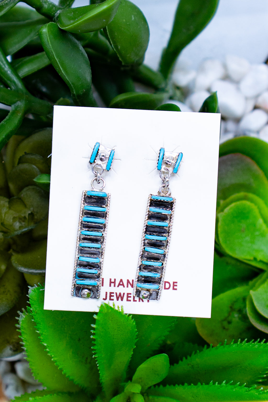 H Bar Turquoise Sterling Silver Stud Earrings
