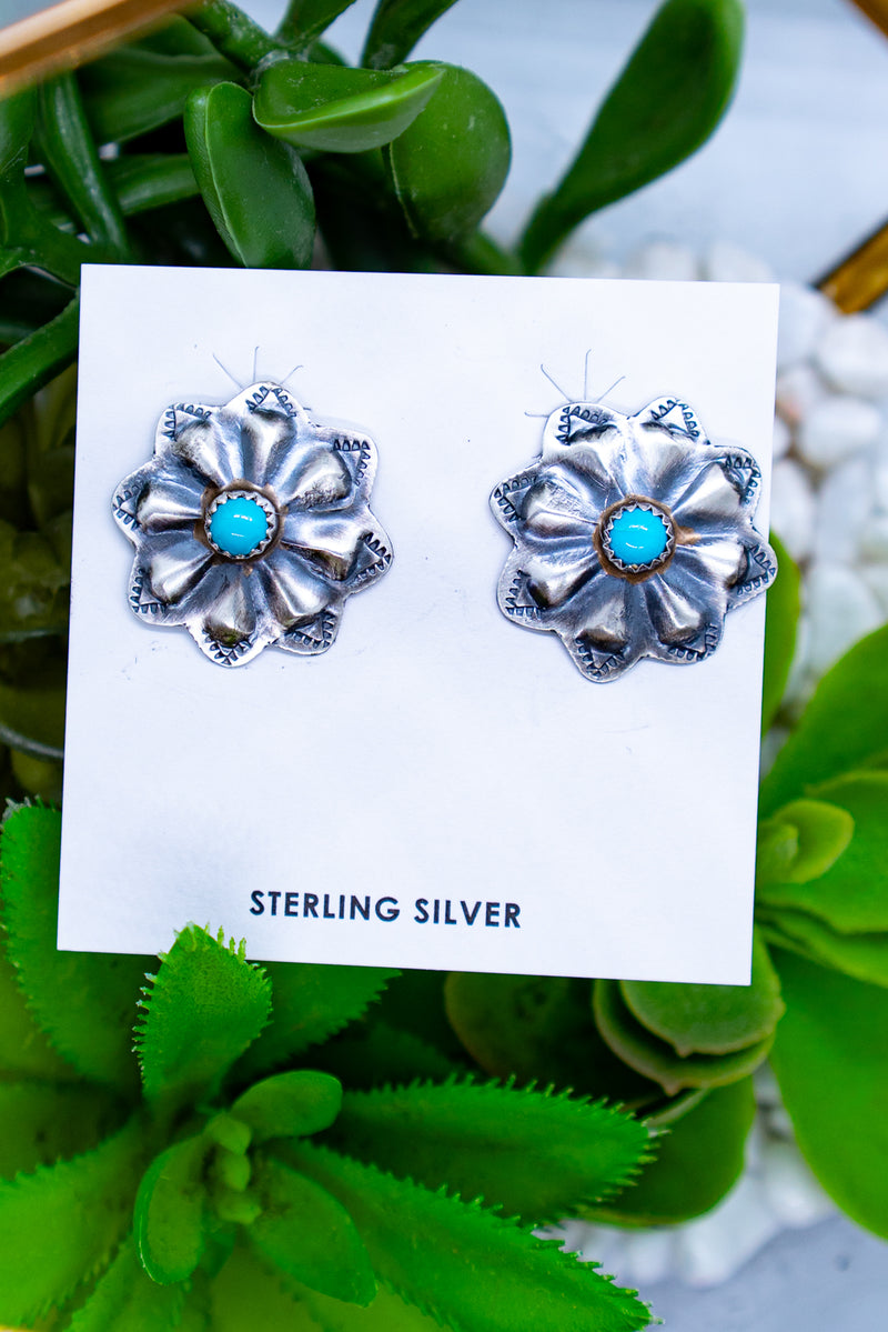 The Edna Turquoise Flower Sterling Silver Studs