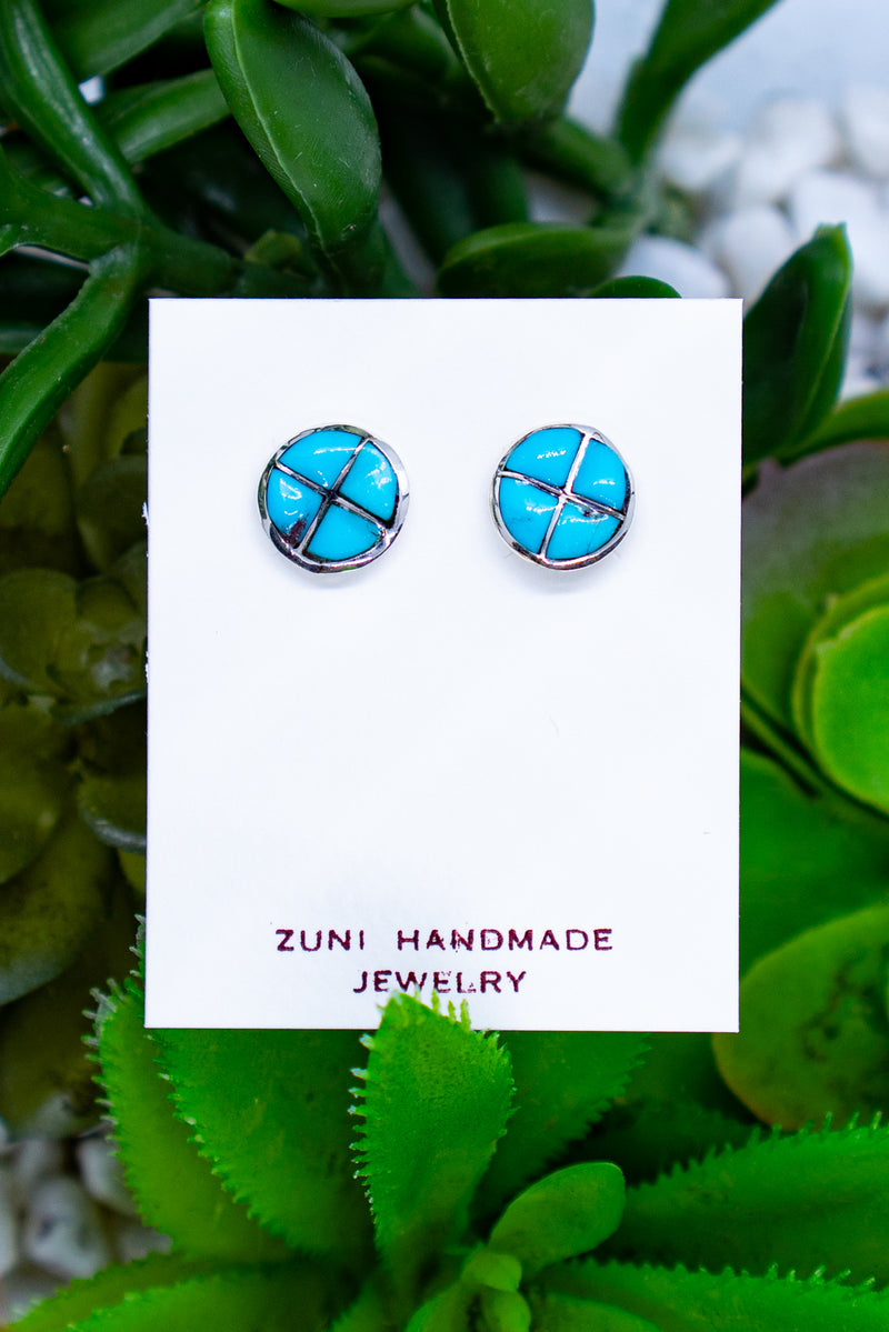 Fire In Her Eyes Turquoise Sterling Silver Studs