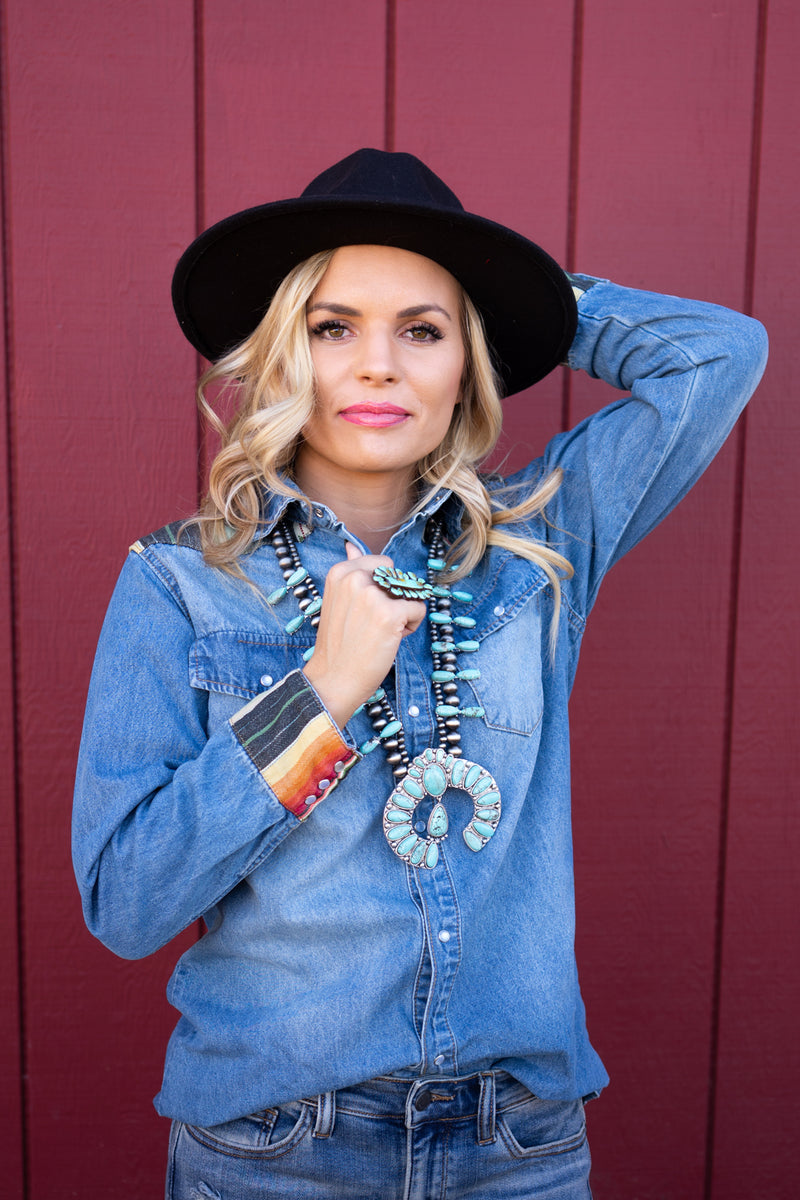 The Taylor Denim Button Up Top with Serape Patches