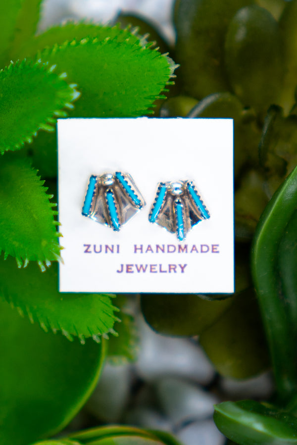 The Trio Turquoise Sterling Silver Studs