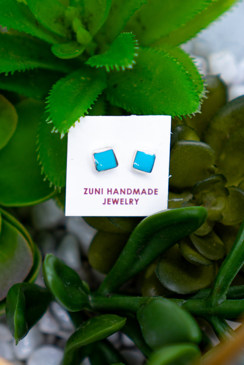 All Squared Away Turquoise Sterling Silver Stud Earrings