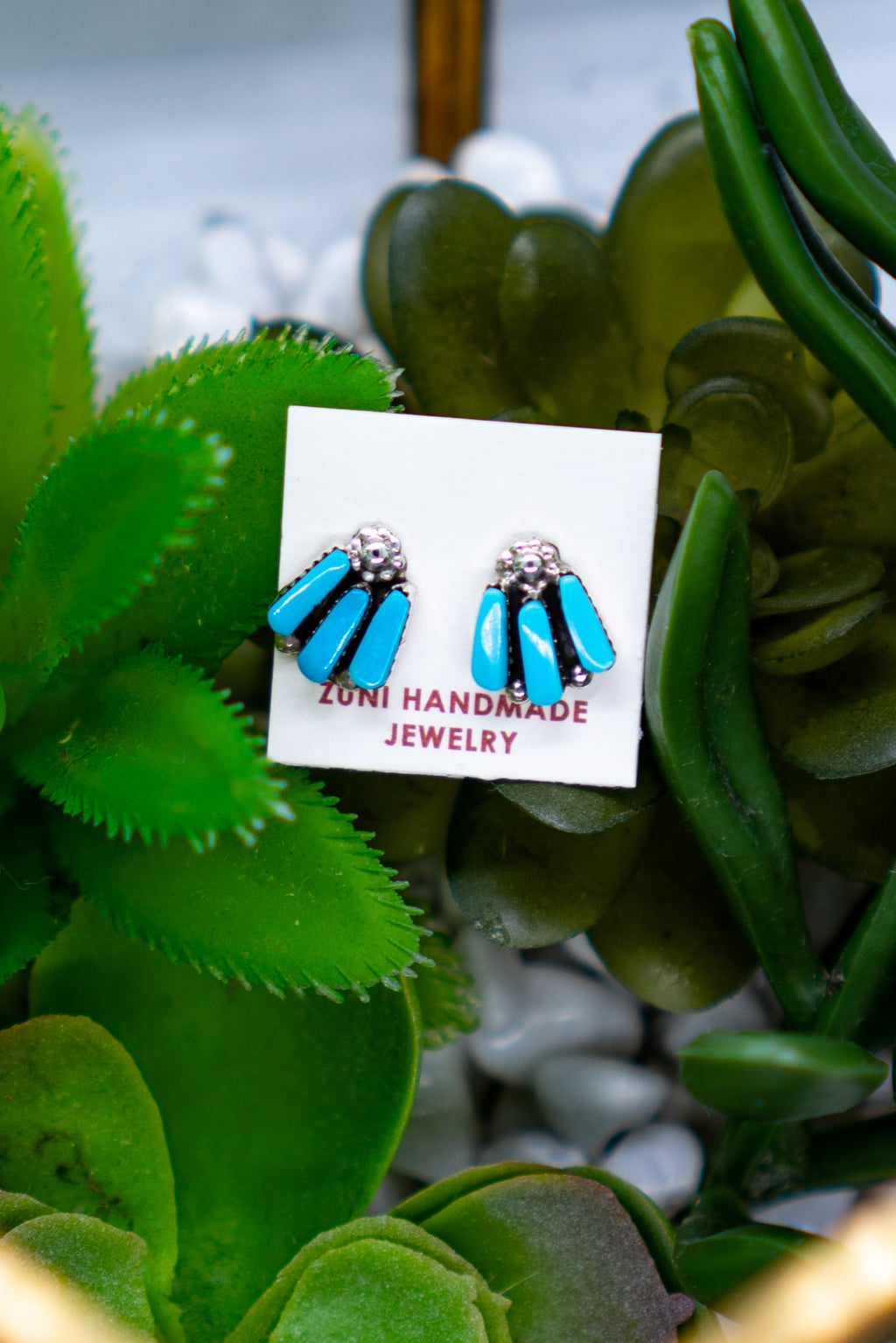 Turquoise Shooting Trio Sterling Silver Stud Earring