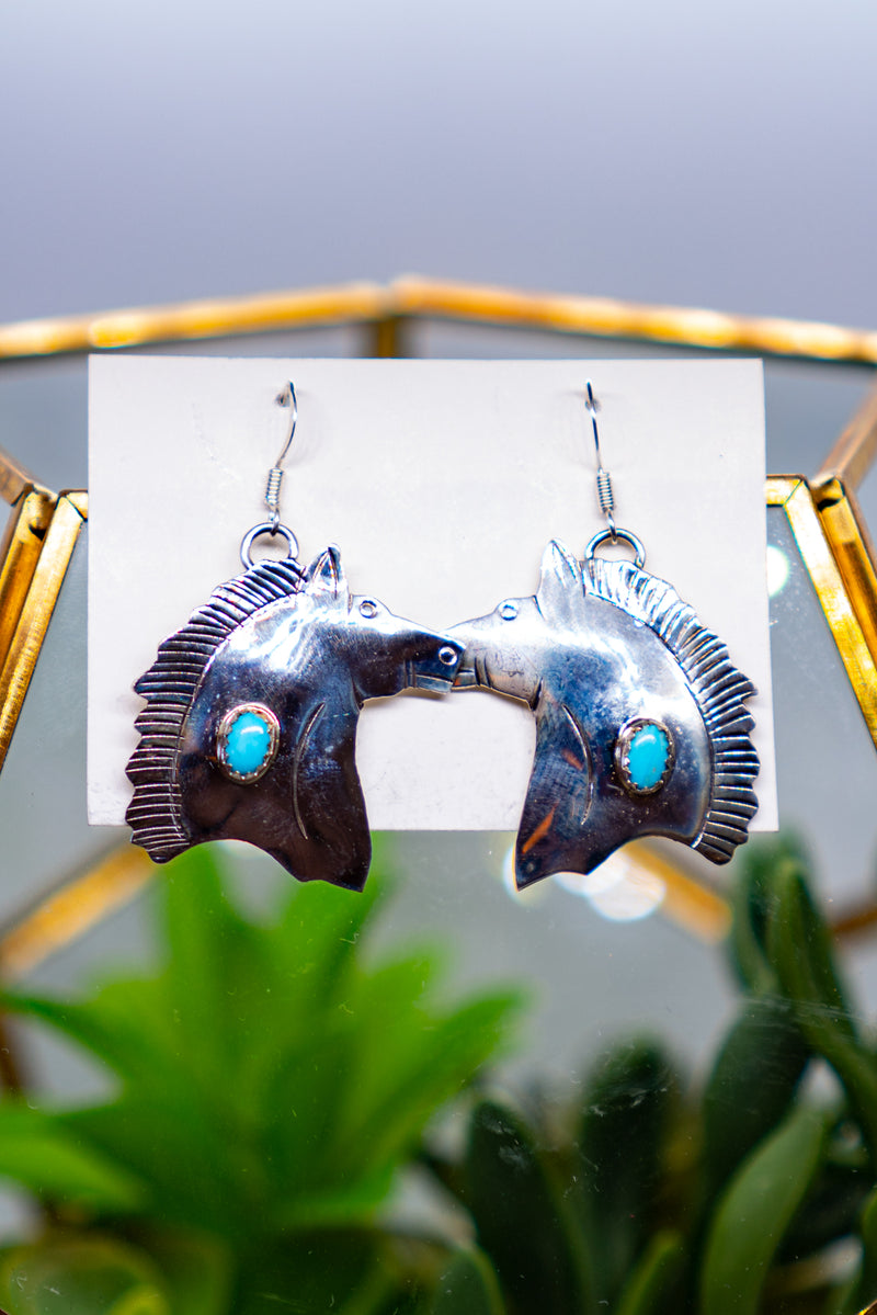 Carol Ann Sterling Silver Horse Earrings
