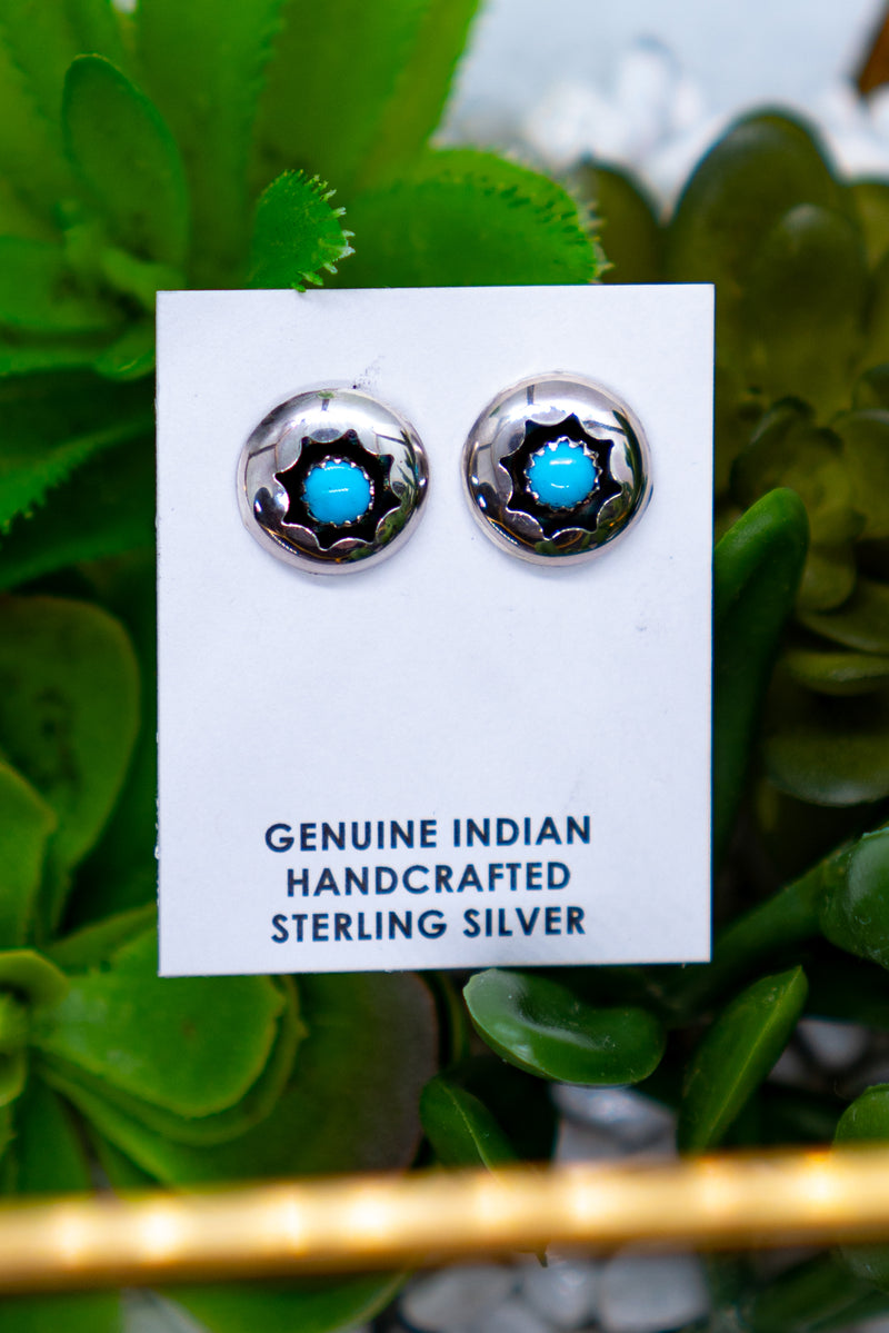 Shadow Box Turquoise Sterling Silver Studs