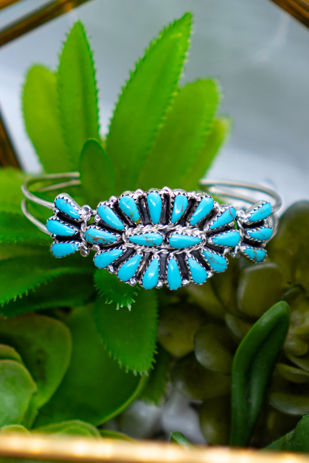Small Double Center Stone Sterling Silver Turquoise Adjustable Cuff