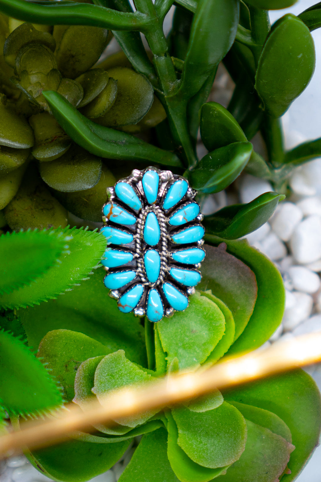Turquoise Sterling Silver Cluster Ring
