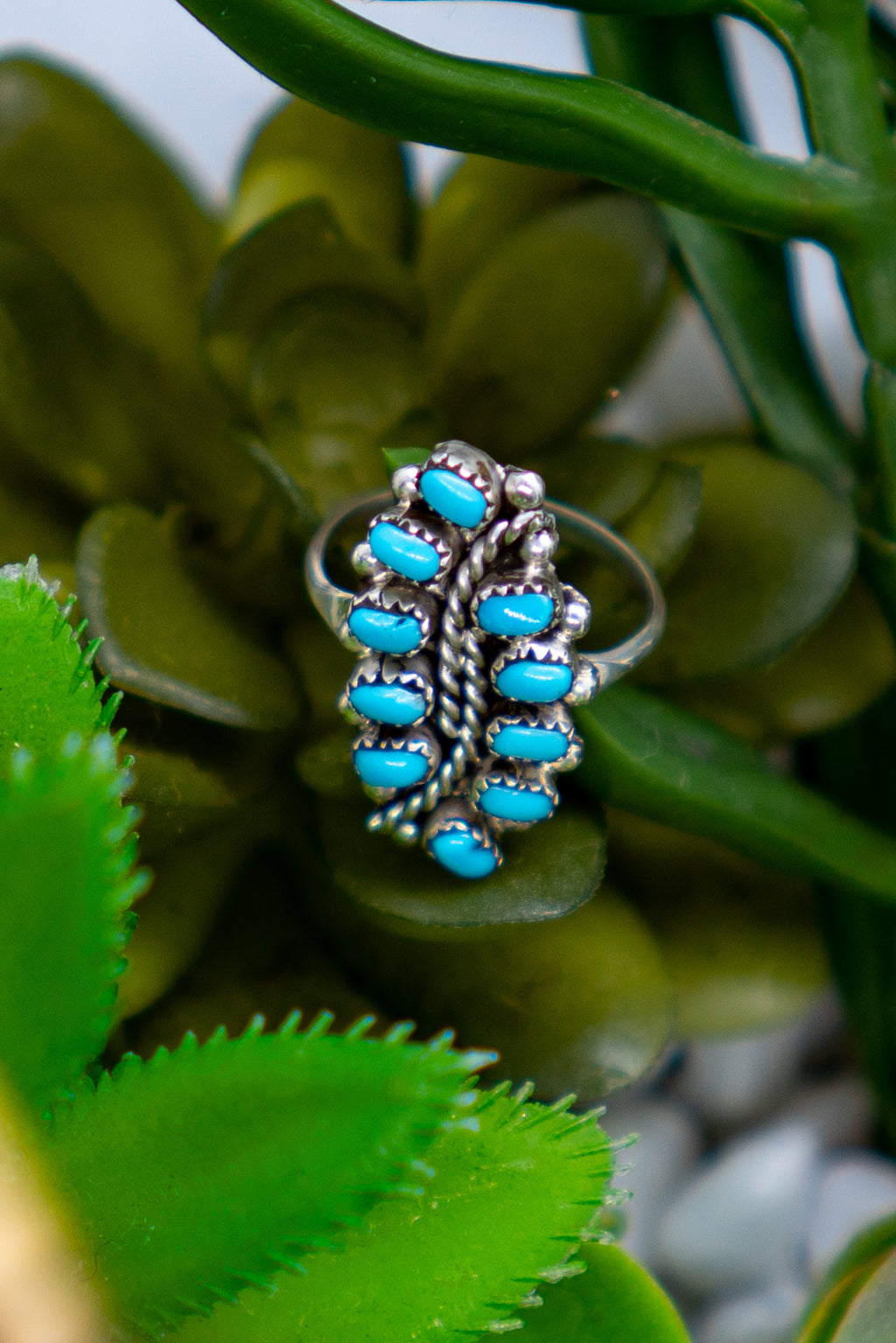 Hi Low Sterling Silver Turquoise Ring