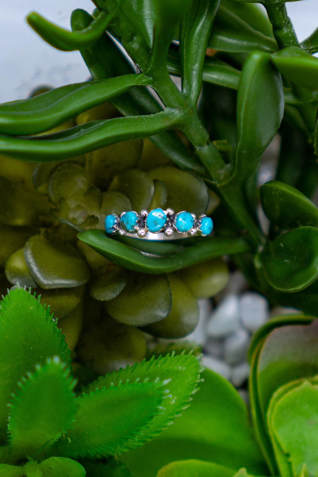 5 Stone Sterling Silver Turquoise Ring