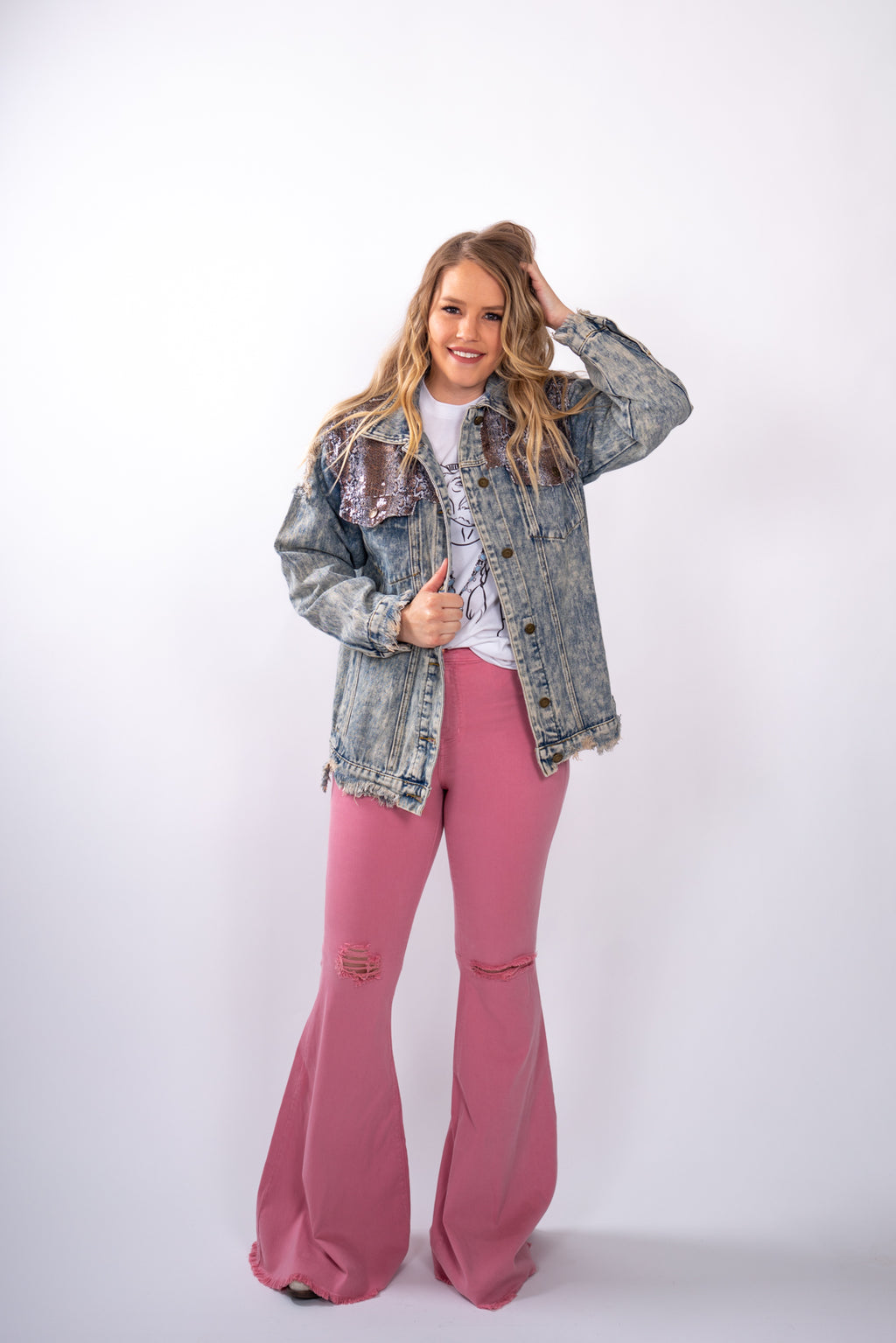 Pretty Pink Distressed Denim Flares