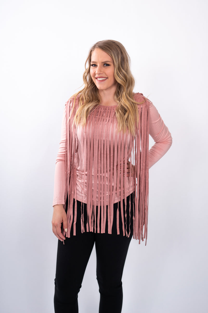 Blushed Out Fringe Top