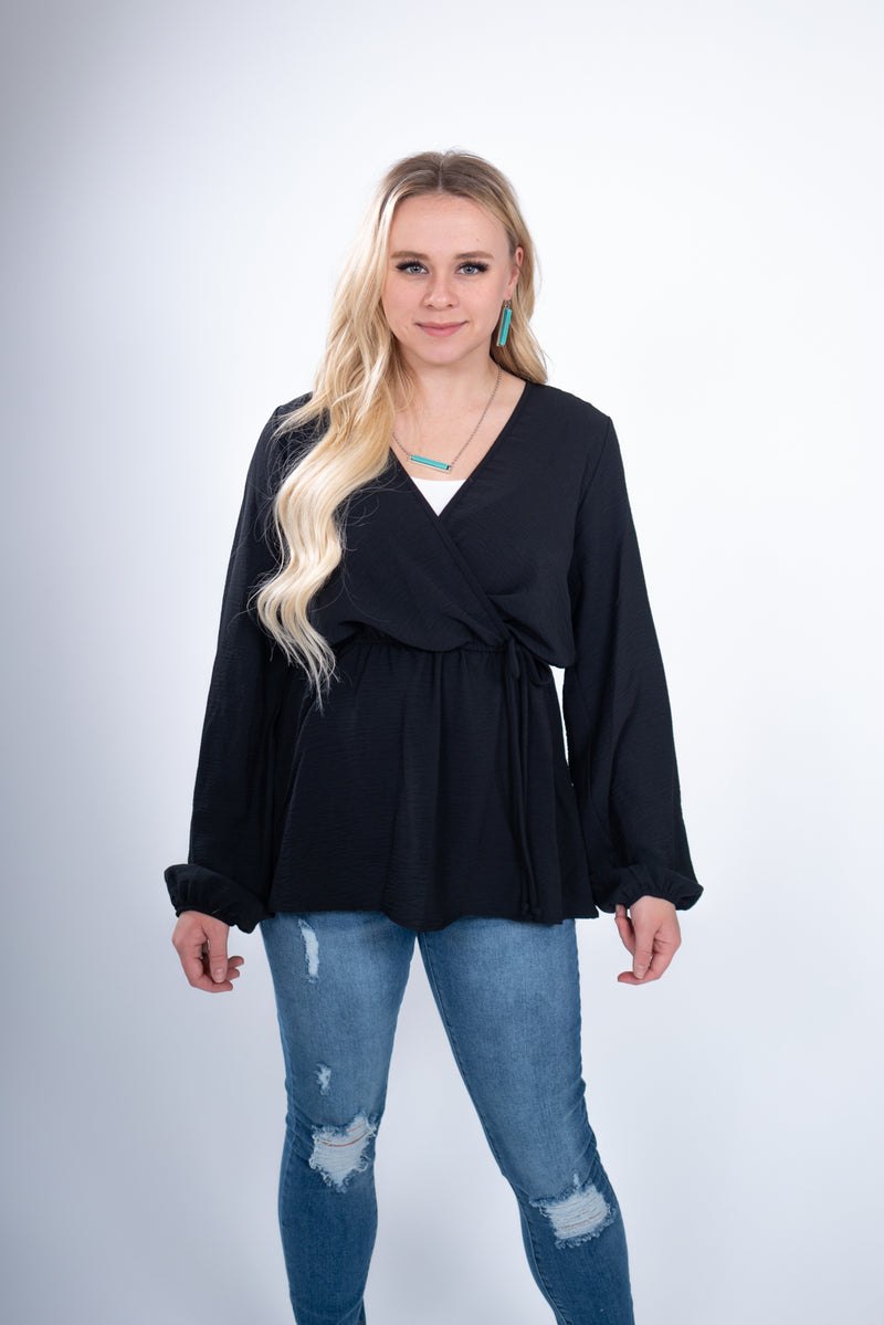 Brunchin' Midnight Long Sleeve Wrap Top