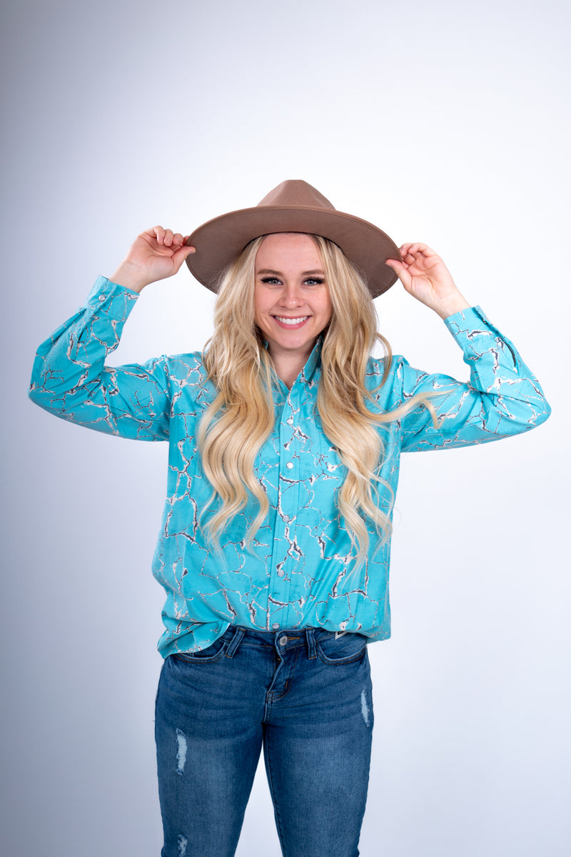 Wild Out West Turquoise Pearl Snap Top