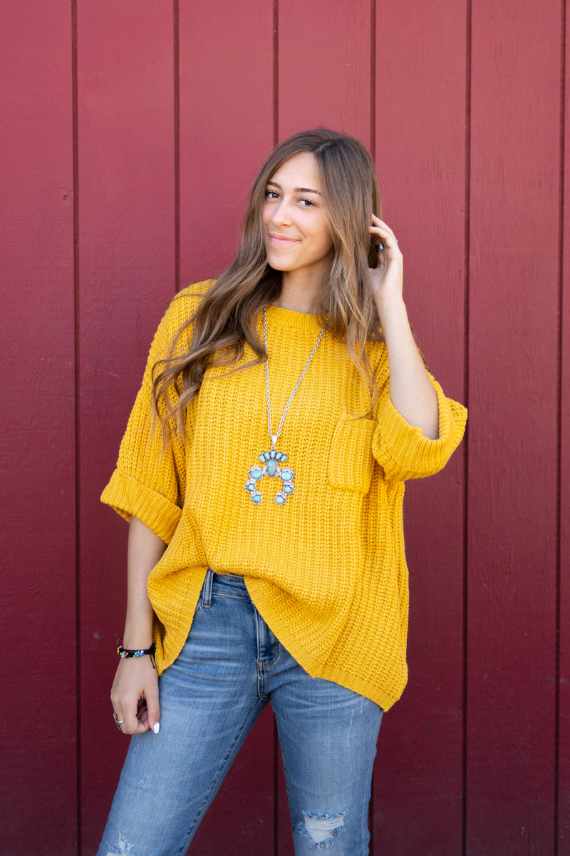 Mustard Oversized Sweater Top