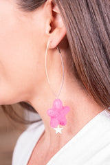 Pink Star Felt Dangle Earrings