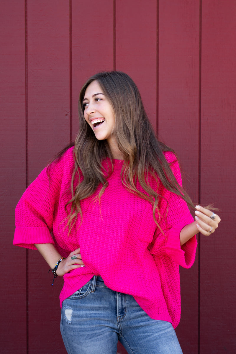 Hot Pink Oversized Sweater Top