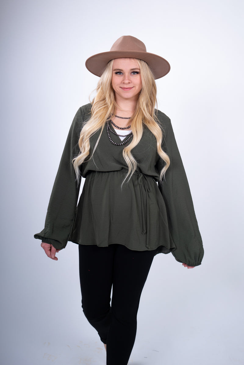 Brunchin' Olive Long Sleeve Wrap Top