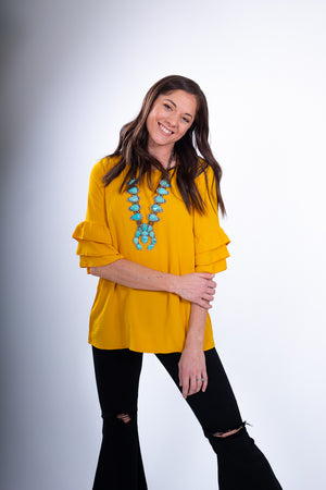 Mustard Ruffle 3/4 Sleeve Women's Top With Turquoise Necklace
