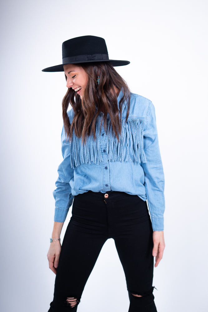 Wild In Fringe Denim Long Sleeve Top