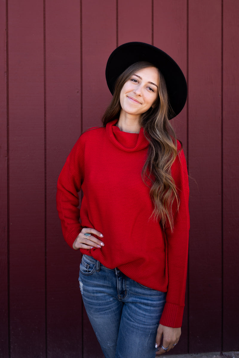 Ruby Red Turtleneck Top