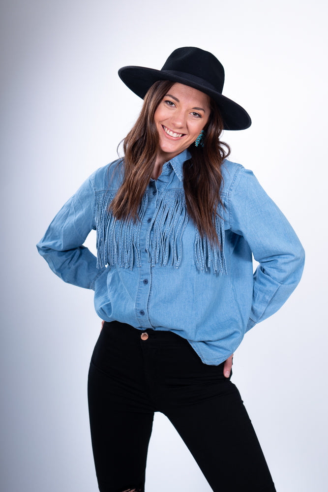 Denim Fringe Long Sleeve Top with Black Wool Amish Hat
