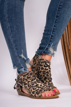 Laced Up Leopard Sandals
