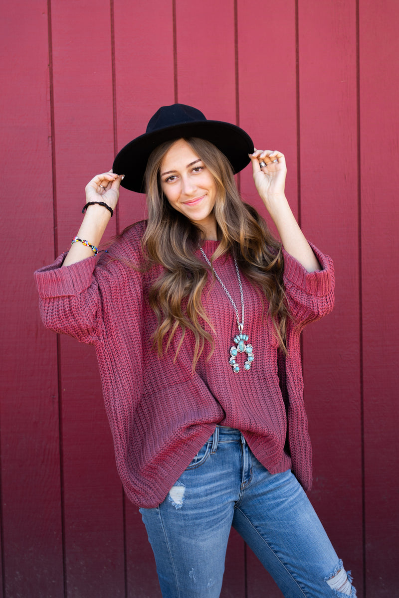 Dusty Rose Oversized Sweater Top