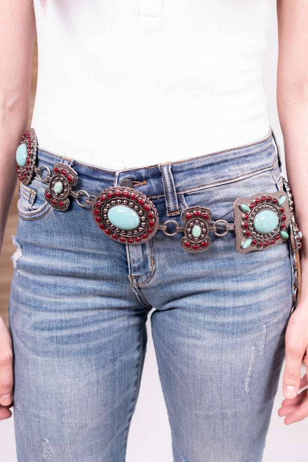 Burgundy Meets Turquoise Loop Belt
