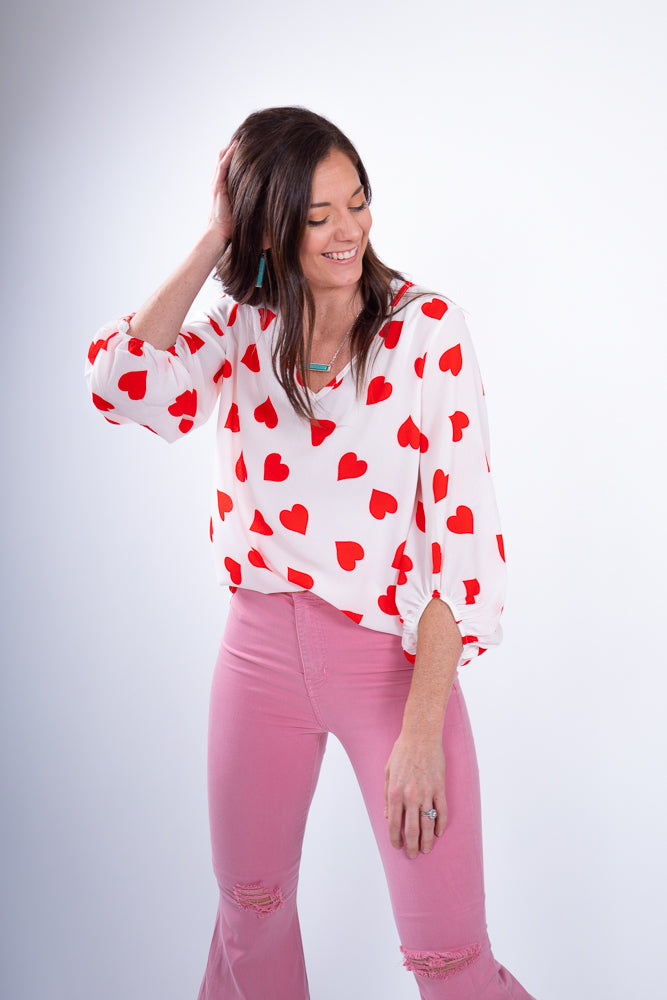 Heart Patterned Blouse and Pink Bell Bottoms