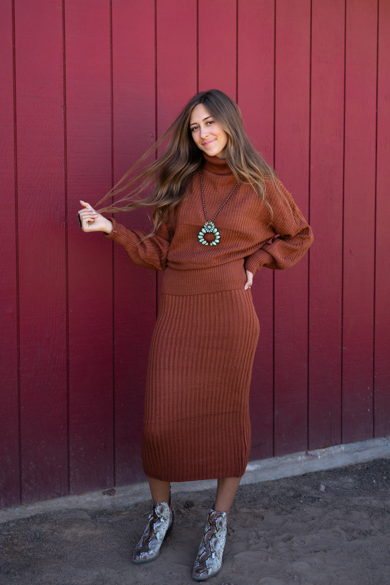 Rust Out West Two Piece Sweater Set