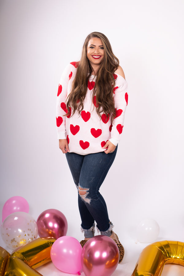 Valentine's Day Red heart patterned white sweater with shoulder cut outs