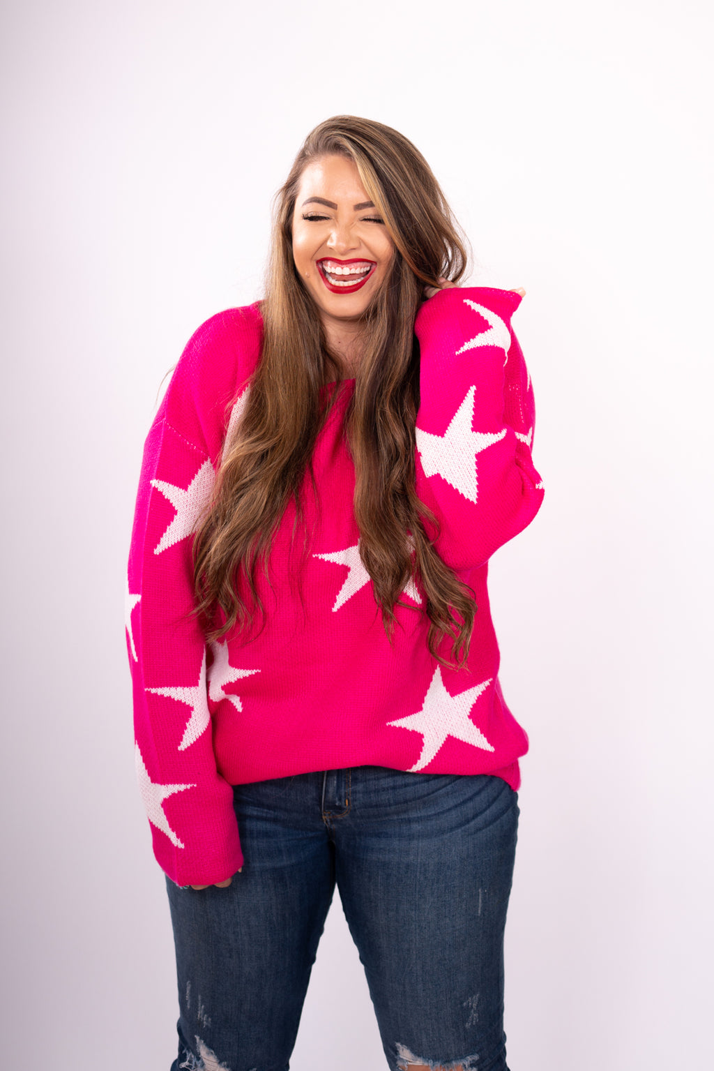 Hot Pink Star Eyed Distressed Sweater Top