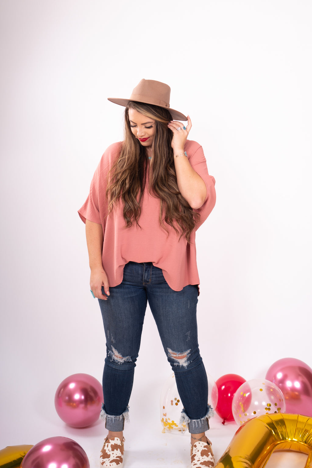 Dusty Rose Boyfriend Top V-Neck Front Pocket