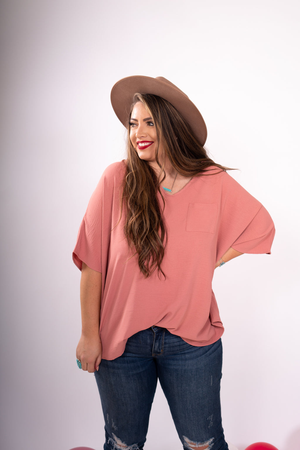 Dusty Rose Oversized Boyfriend Top