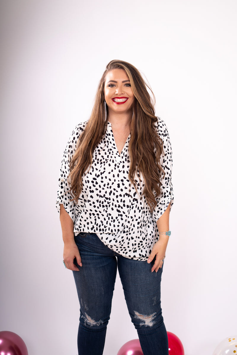 She Means Business Ivory Spotted 3/4 Sleeve Top