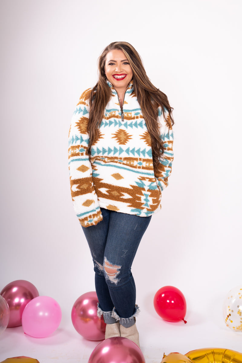 Turquoise and Cream Fever Aztec Sherpa Pullover