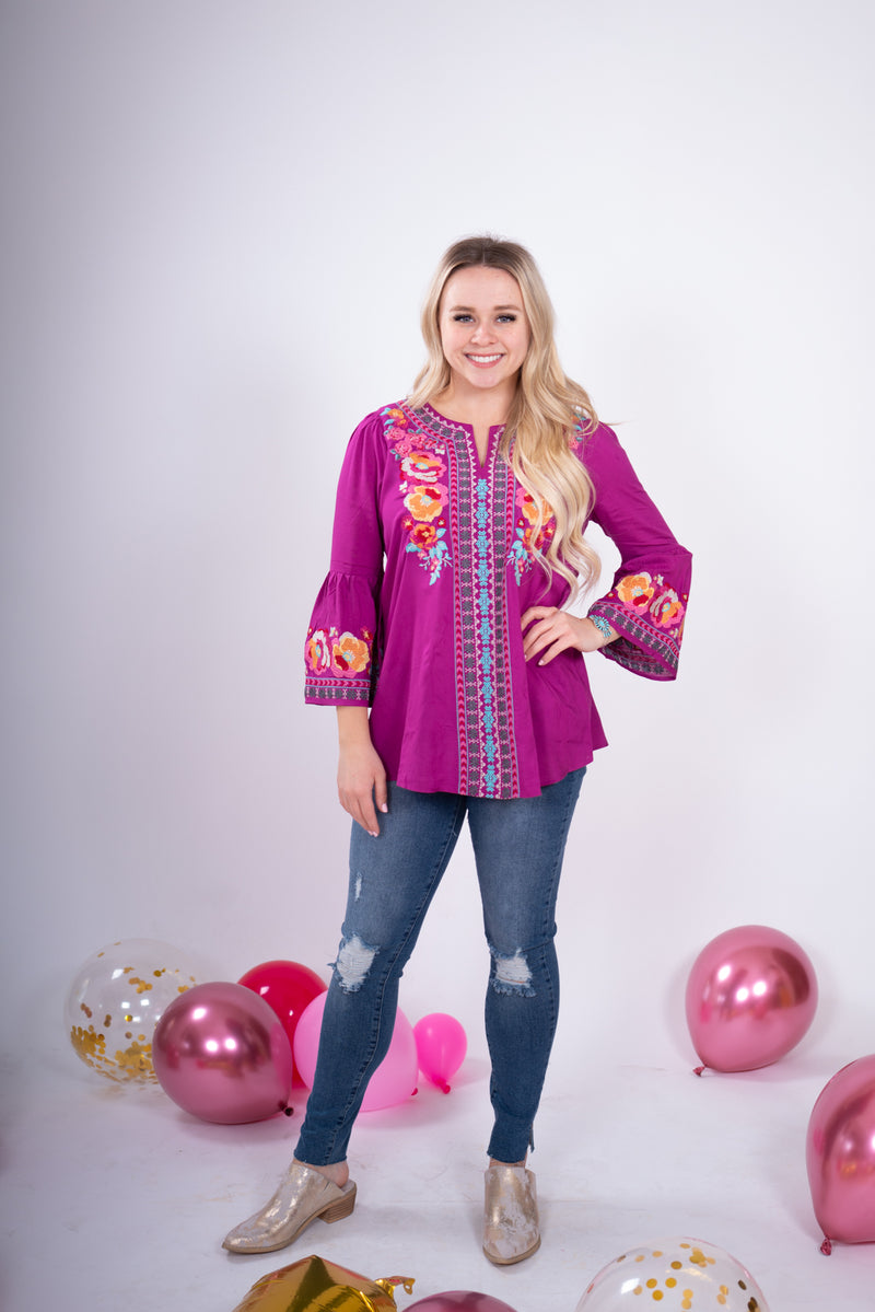 Magenta Embroidered 3/4 Sleeve Top