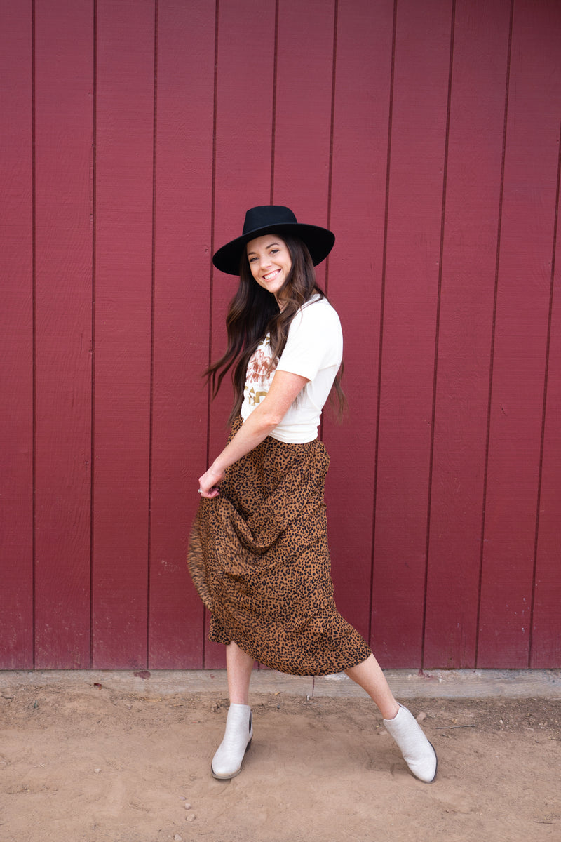 Downtown Leopard Midi Skirt