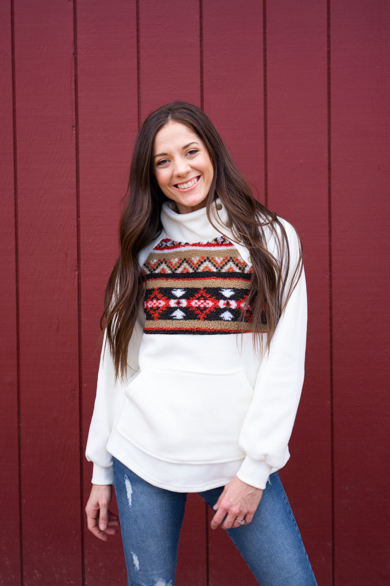 Marshmellow Aztec Fleece Pullover